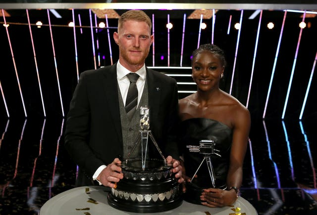 Ben Stokes, left, with third-placed Dina Asher-Smith