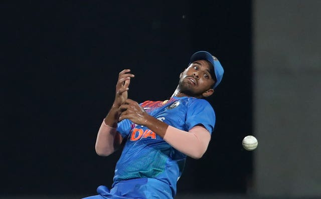 India's Washington Sundar dropped Lendl Simmons whose 67 not out helped West Indies win the Twenty20 international in Thiruvananthapuram by eight wickets