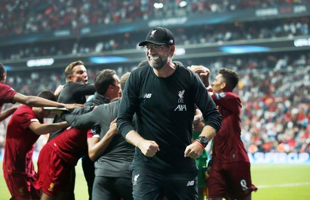 Jurgen Klopp and Liverpool celebrate winning the UEFA Super Cup against Chelsea