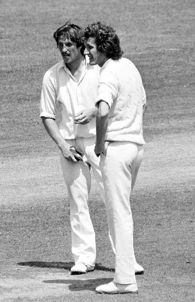 Willis with Somerset's Ian Botham (left) on Test duty for England during the series against Pakistan