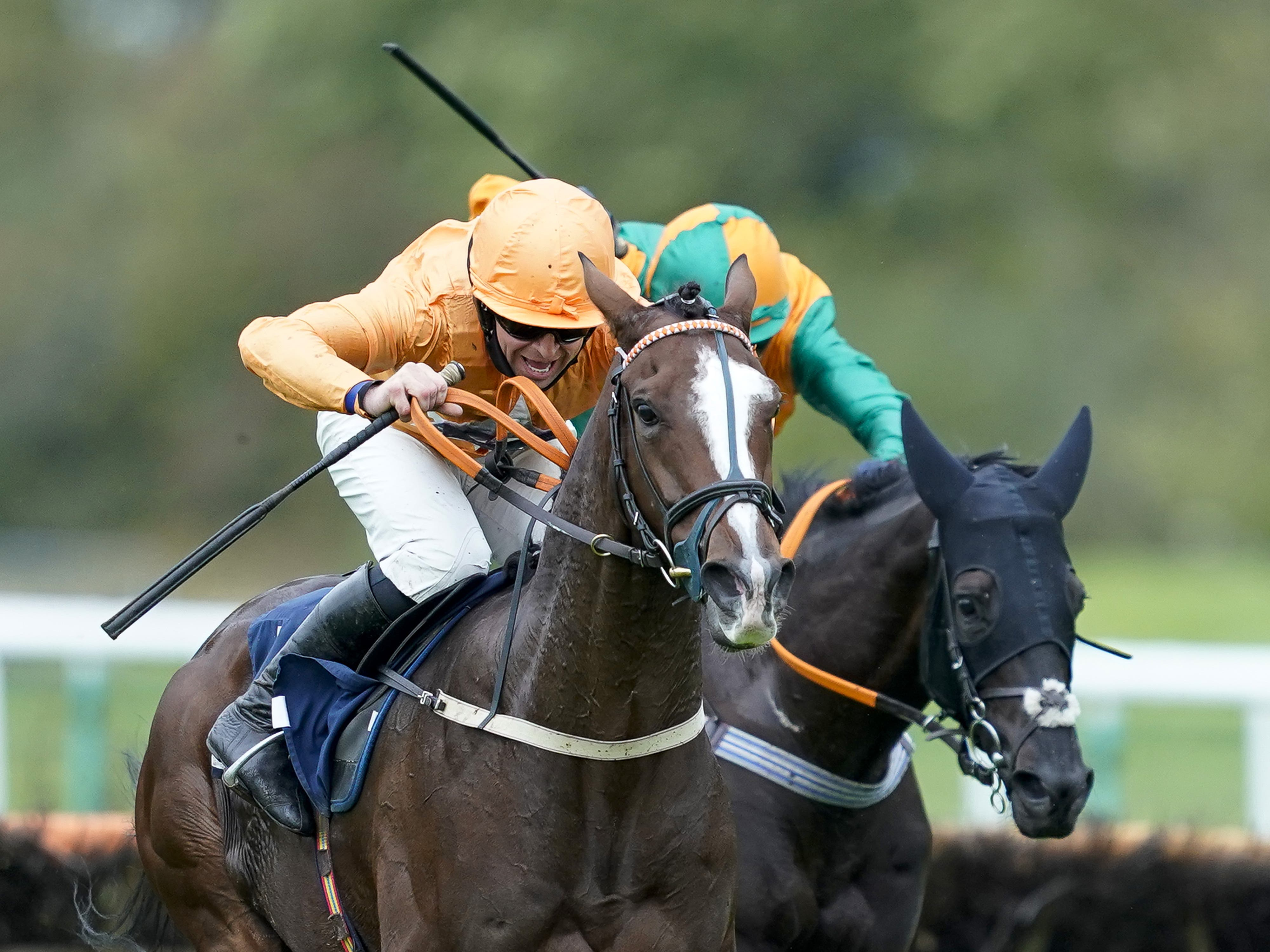 Robbie Dunne and Leroy Leroy on their way to victory at Huntingdon (Alan Crowhurst/PA)