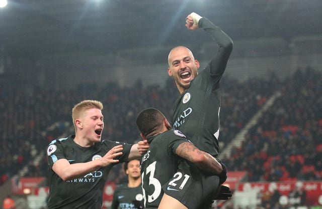 Manchester City's David Silva scored one in each half against Stoke (Nick Potts/PA)