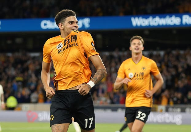 Morgan Gibbs-White celebrates his first senior goal for Wolves