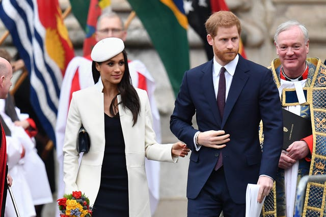 Meghan Markle and Prince Harry at this week's Commonwealth Service at Westminster Abbey (Joe Giddens/PA)