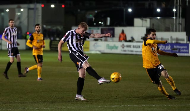 Chorley's Willem Tomlinson has a shot on goal