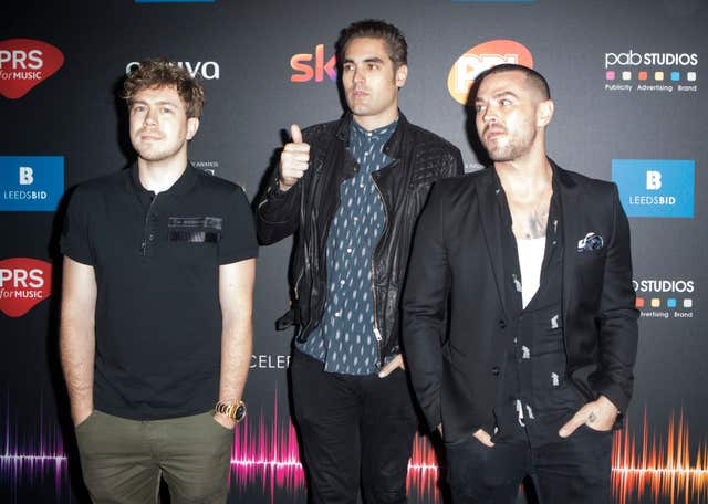 James Bourne, Charlie Simpson and Matt Willis of Busted (Danny Lawson/PA)