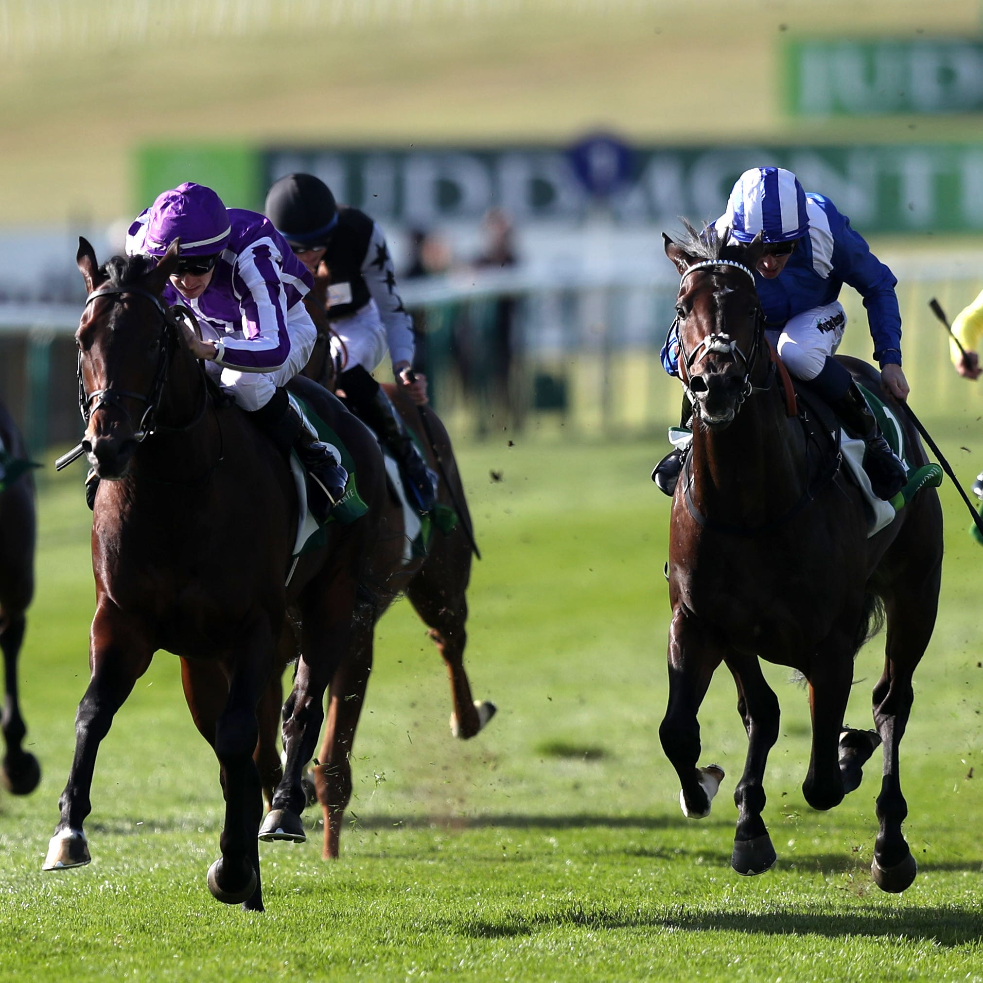 Jash (blue and white cap) found only Ten Sovereigns too good in the Middle Park Stakes