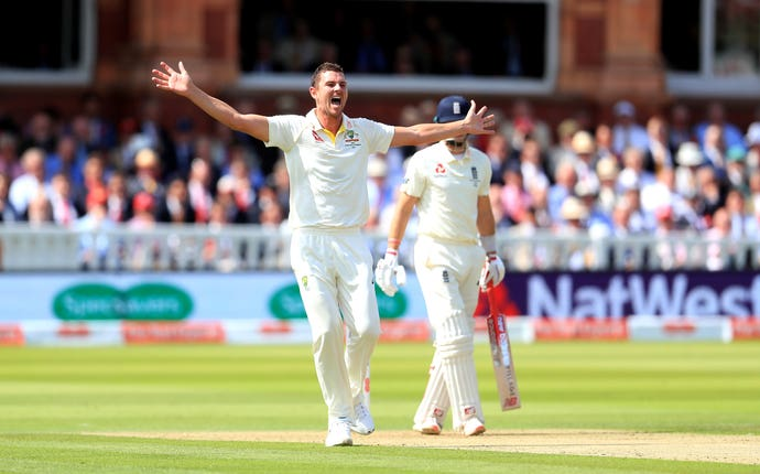 Josh Hazlewood celebrates taking the wicket of Joe Root
