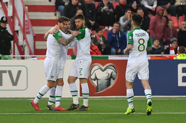 Jeff Hendrick, left, celebrates scoring the only goal of the game in Gibraltar