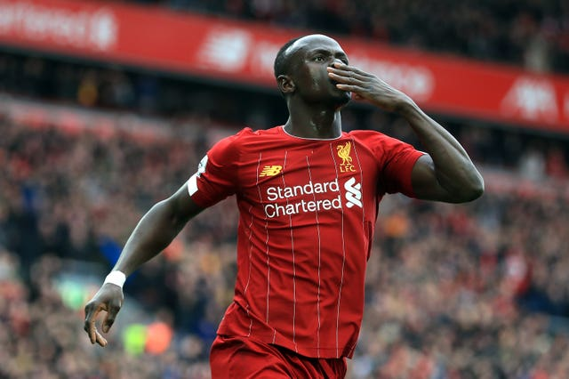 Mane celebrates scoring Liverpool's second goal