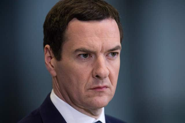 "George Osborne urged Mrs May to take the ""threat"" of a no-deal Brexit off the table (Matt Cardy/PA)"