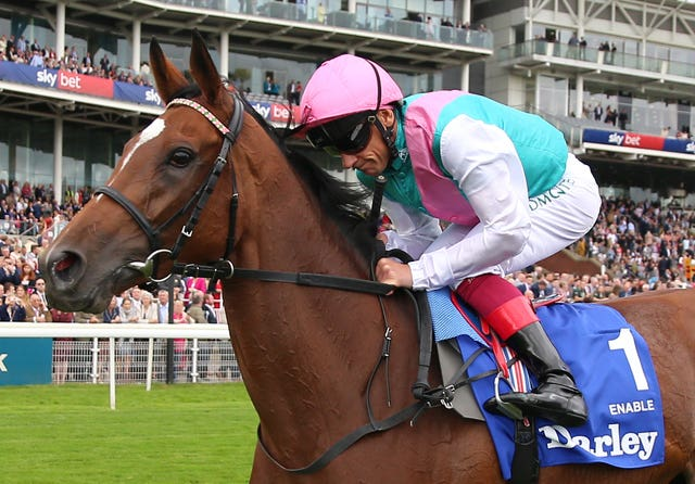 Frankie Dettori rides Enable to win The Darley Yorkshire Stakes