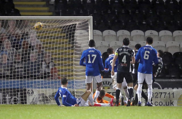 St Mirren's Conor McCarthy (right) scores his side's third goal