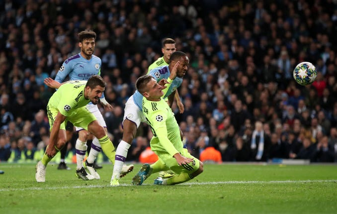 Raheem Sterling scores his side's first goal
