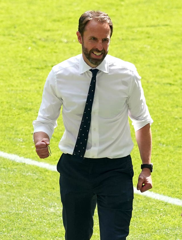 England manager Gareth Southgate celebrates victory after the final whistle during the UEFA Euro 2020 Group D match at Wembley Stadium, London