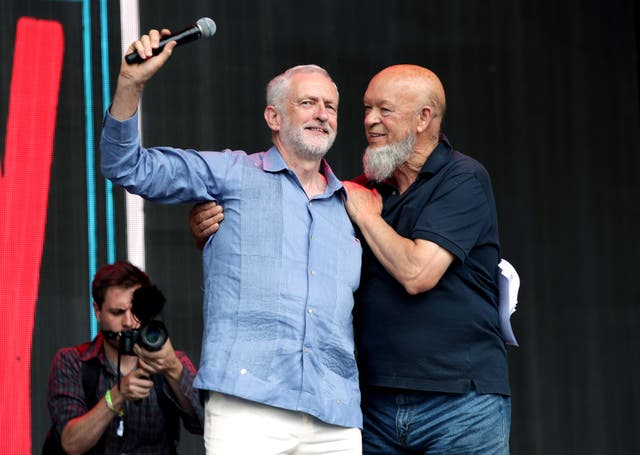 Labour leader Jeremy Corbyn and Michael Eavis