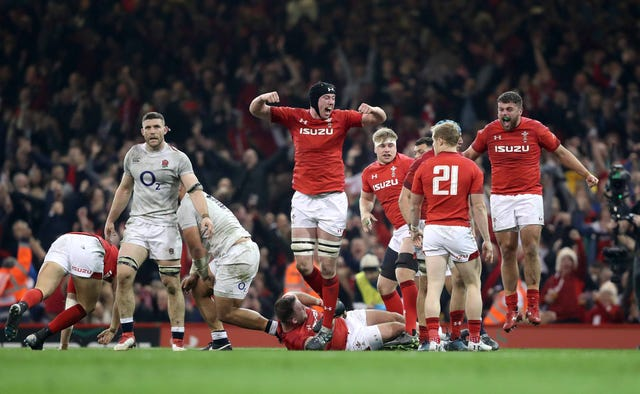 Wales celebrate after toppling England in their Six Nations showdown