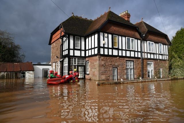 A man was rescued from his home in Monmouth amid heavy flooding (Ben Birchall/PA)