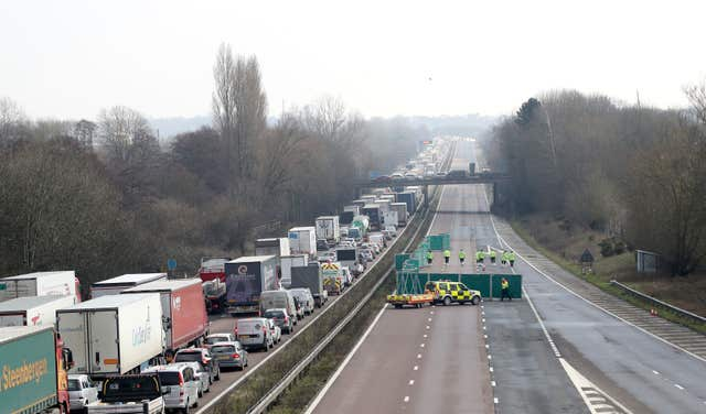 The London-bound carriageway of the M20 was closed for nearly 24 hours after the incident (Gareth Fuller/PA