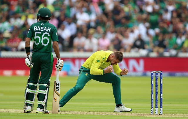 Aiden Markram celebrates taking the wicket of Pakistan's Mohammad Hafeez