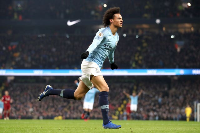 Leroy Sane celebrates scoring City's winner against Liverpool at the Etihad Stadium in January