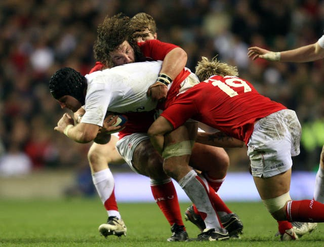 Alix Popham (number 19) in action for Wales against England in the Six Nations in 2008