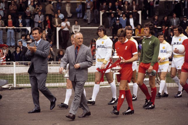 Liverpool took on Leeds under new boss Brian Clough (left) back at Wembley in August 1974