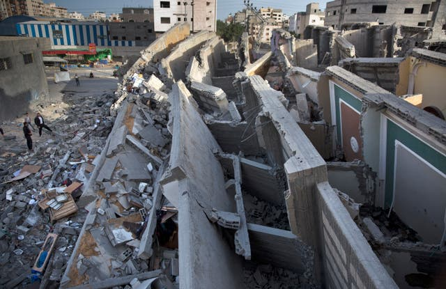 A destroyed building in Gaza City