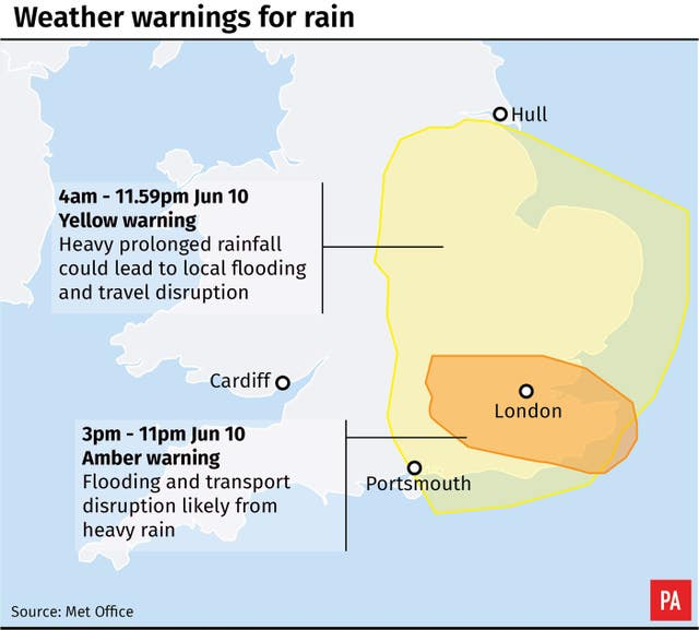 Weather warnings for rain