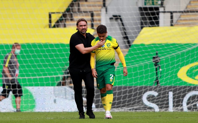 Norwich manager Daniel Farke with Max Aarons after the final whistle