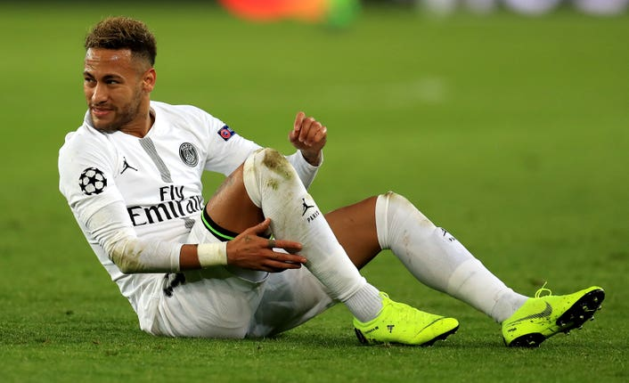 Neymar missed the second leg of the round of 16 clash with Manchester United through injury.