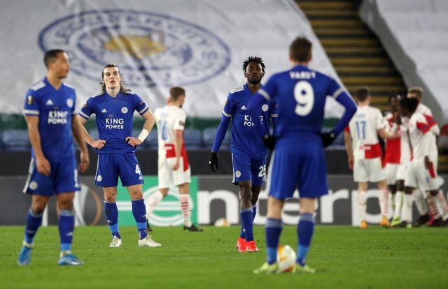 Leicester players appear dejected