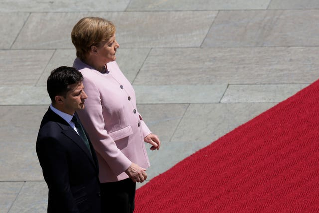 Angela Merkel with Ukraine's President Volodymyr Zelenskiy at the chancellery in Berlin