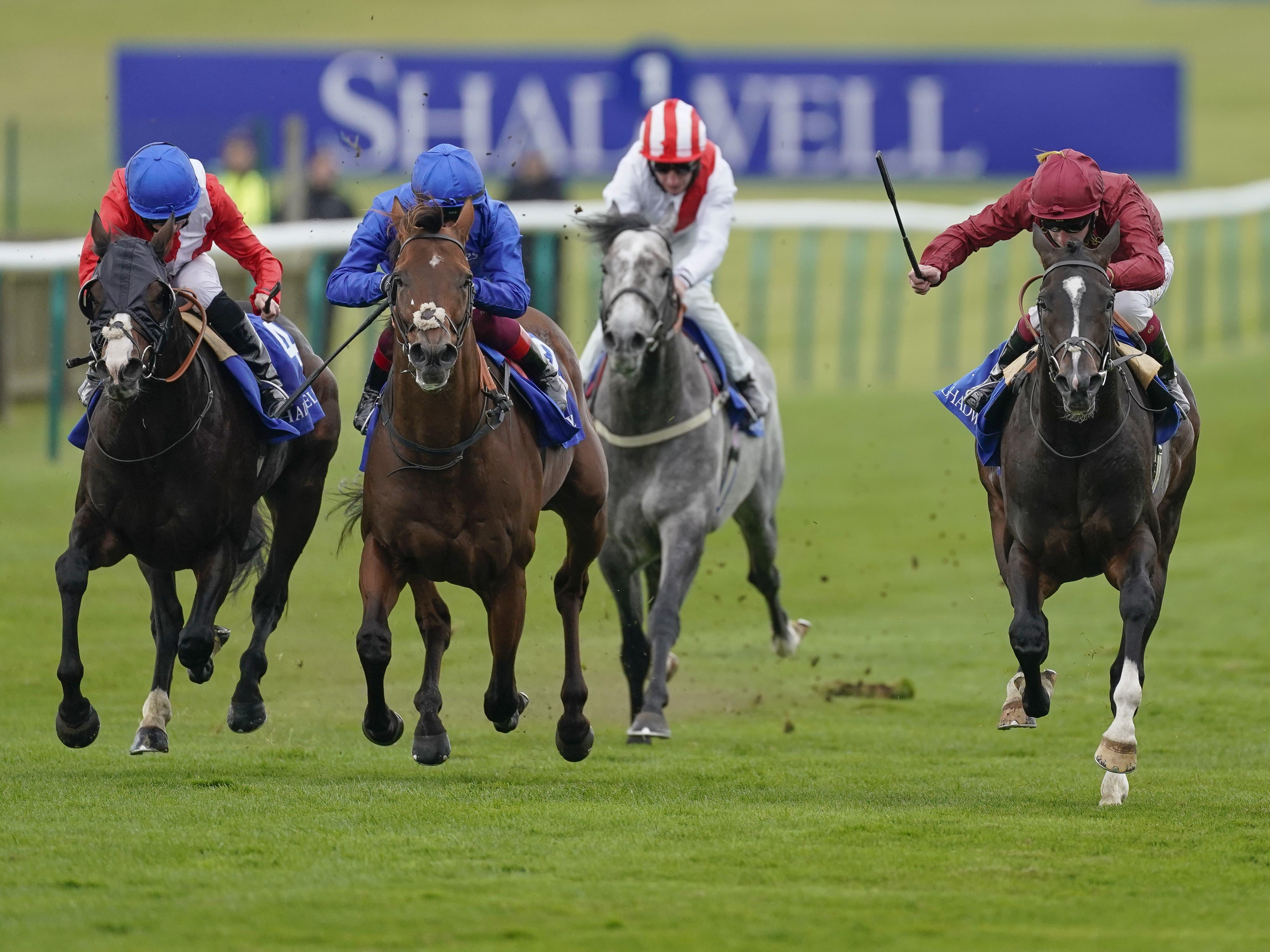 Benbatl (blue) could not hold off Kameko at Newmarket (Alan Crowhurst/PA)