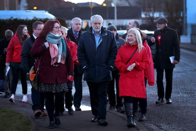 Labour leader Jeremy Corbyn meets with local party supporters and residents in Penicuik, Midlothian