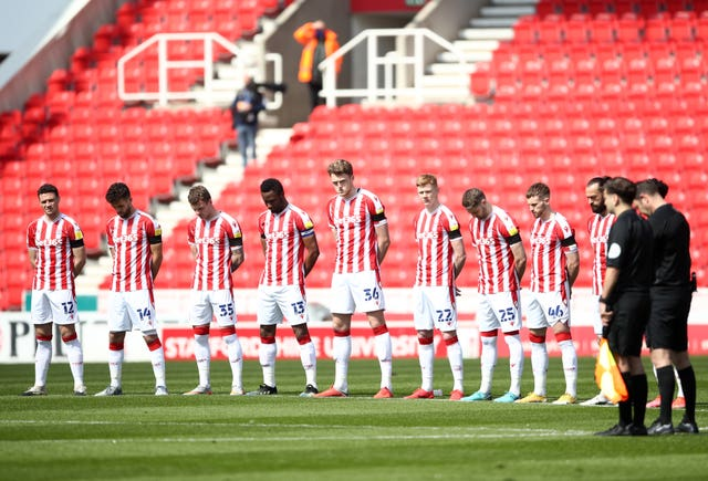 Stoke players stood before their clash with Preston