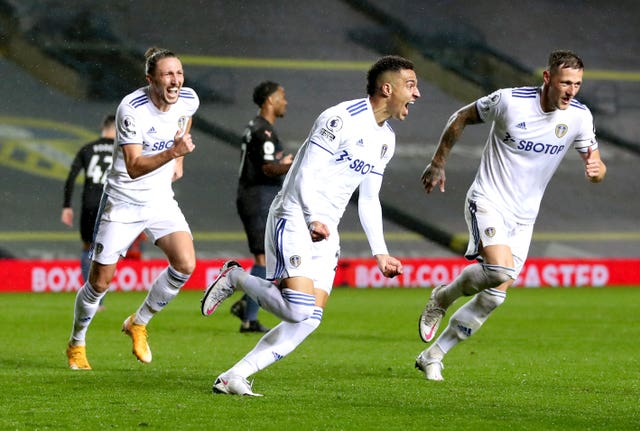 Rodrigo, centre, became Leeds' club record £27million signing in August