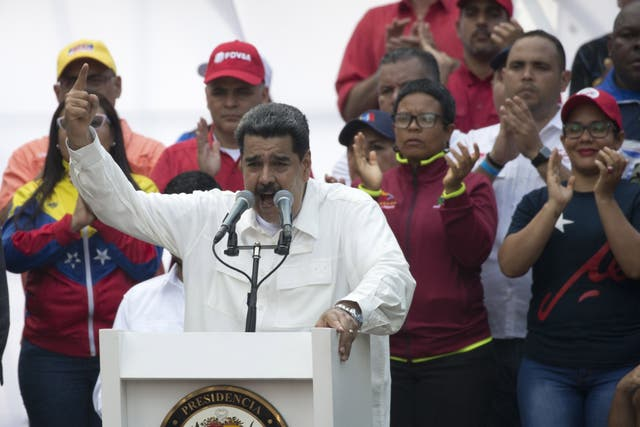 Nicolas Maduro speaks to supporters during a government rally in Caracas