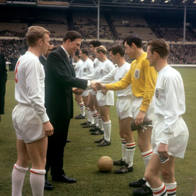 Banks, here being introduced to The Earl of Harewood, made his England debut in 1963 against Scotland at Wembley