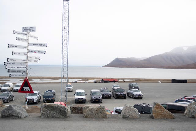 A parking area part of the Longyearbyen camp site