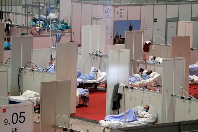A temporary field hospital in Madrid