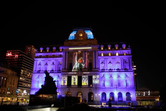 Images of Diego Maradona are projected at the Kirchner Cultural Centre in downtown Buenos Aires