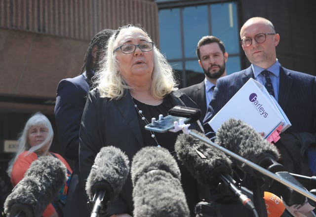 Anthony Grainger's mother Marina speaks to the media outside Liverpool Crown Court