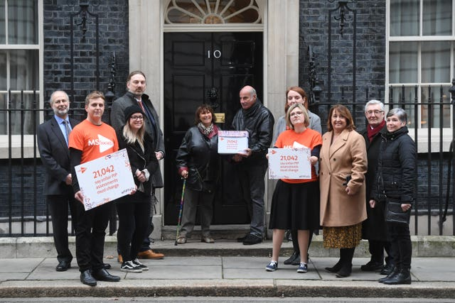 Janis Winehouse with MS Society staff and people living with multiple sclerosis at 10 Downing Street