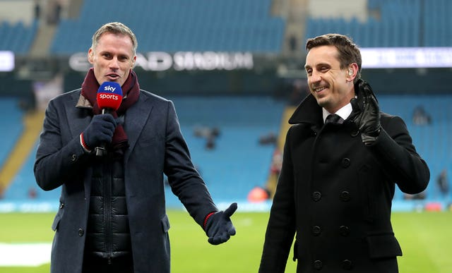 Jamie Carragher and Gary Neville working as Sky Sports football pundits
