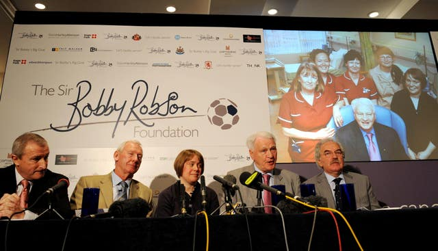 Sir Bobby Robson at the launch of his foundation, pictured with (left to right) Jim Rosenthal, Bob Wilson Dr Ruth Plummer and Des Lynham (Owen Humphreys/PA)