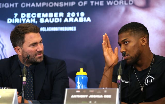 Eddie Hearn, left, claimed the fight between Anthony Joshua, right, and Tyson Fury is