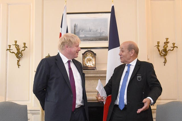 The Foreign Secretary meets French foreign minister Jean-Yves Le Drian for talks (Kirsty O'Connor/PA)