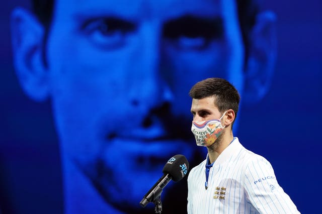 World number one Novak Djokovic sports a face mask following victory over Diego Schwartzman at the ATP Finals in London. The 17-time Grand Slam champion apologised earlier in the year after becoming the latest tennis player to test positive for Covid-19. Grigor Dimitrov, Borna Coric and Viktor Troicki each revealed they had coronavirus after playing at Djokovic's Adria Tour competition in Serbia and Croatia, with the 33-year-old later conceding it had been