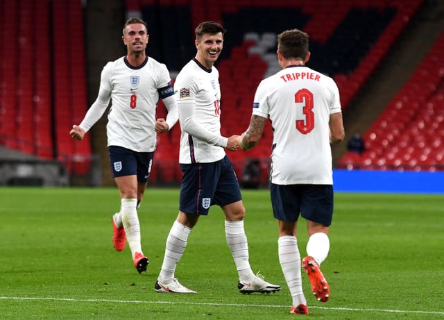 Mason Mount, centre, scored the winning goal against Belgium